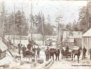m.187 dbp116 lumber camp with sleighs c1890